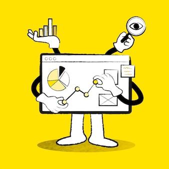 Ilustração em vetor doodle amarelo em placa de análise de negócios de comércio eletrônico