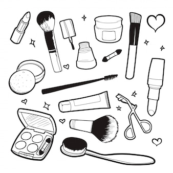 Ilustração em vetor doodle cosmético