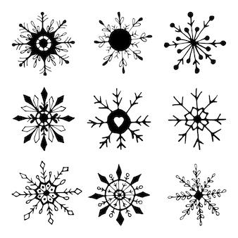 Ilustração em vetor doodle floco de neve desenhado à mão. elemento de inverno para cartões comemorativos