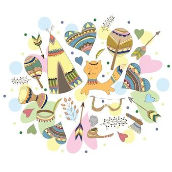 Ilustração em vetor doodle indiano - estilo doodle engraçado