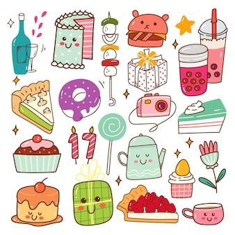 Ilustração em vetor doodle kawaii para aniversário com comida e bebida