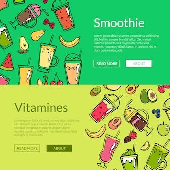 Ilustração em vetor doodle smoothie web banner modelos