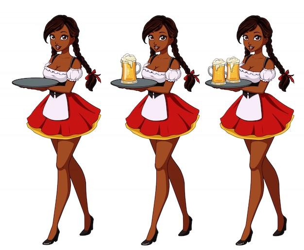 Ilustração em vetor dos desenhos animados com garçonete morena sexy vestido vermelho tradicional