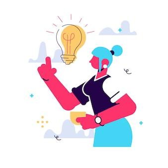 Ilustração em vetor dos desenhos animados da ideia de mulheres veio. personagem feminina está em seu dedo indicador. amanheceu com lâmpada incandescente