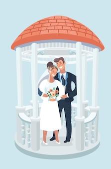 Ilustração em vetor dos desenhos animados de casamento cupê noiva e noivo em pé no gazebo. elemento de design para cartão de casamento. personagens em fundo wihite isolado.