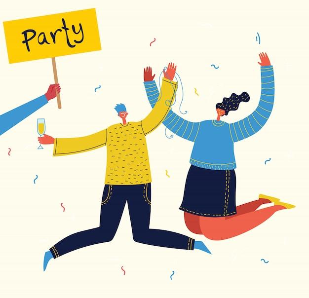 Ilustração em vetor dos desenhos animados de feliz aniversário comemorando na festa. o conceito de amizade, estilo de vida saudável, sucesso, comemoração, festa.