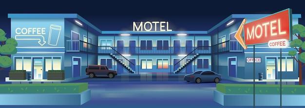 Ilustração em vetor dos desenhos animados de motel à noite com carros e café.