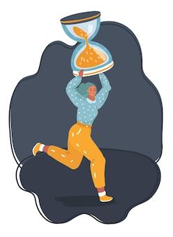 Ilustração em vetor dos desenhos animados de mulher minúscula cansada trabalhando horas extras devido o prazo - executado com uma grande ampulheta em seu ombro através do plano de fundo noturno. conceito de falta de tempo