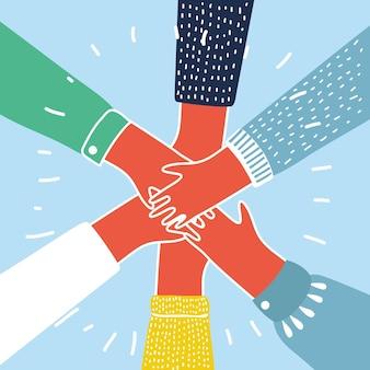 Ilustração em vetor dos desenhos animados de pessoas juntando as mãos. conceito colorido