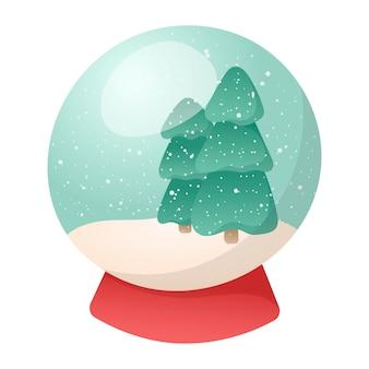 Ilustração em vetor dos desenhos animados de um brinquedo de natal tradicional ou lembrança, bola de vidro com neve e árvores de natal dentro.