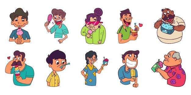 Ilustração em vetor dos desenhos animados de um homem e uma mulher segurando sorvete.