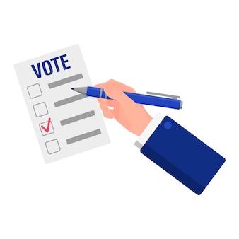 Ilustração em vetor dos desenhos animados de uma mão que marca o candidato na cédula, isolada em um fundo branco. eleição presidencial dos eua 2020. conceito de votação, patriotismo e independência.