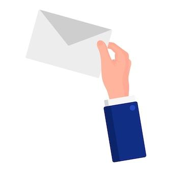 Ilustração em vetor dos desenhos animados de uma mão que segurando um envelope com uma carta isolada em um fundo branco. eleição presidencial dos eua 2020. conceito de votação, patriotismo e independência.