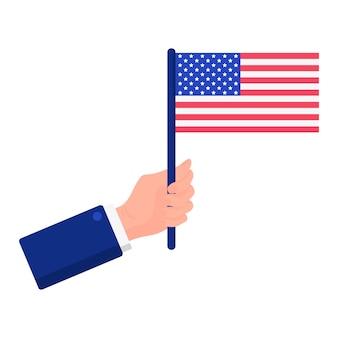 Ilustração em vetor dos desenhos animados de uma mão que segurando uma bandeira americana isolada em um fundo branco. eleição presidencial dos eua 2020. conceito de votação, patriotismo e independência.