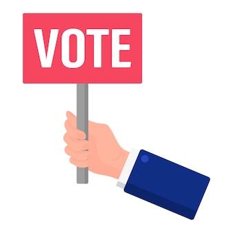 Ilustração em vetor dos desenhos animados de uma mão segurando um cartaz com a votação de inscrição isolado em um fundo branco. eleição presidencial dos eua 2020. conceito de votação, patriotismo e independência.