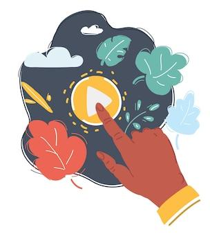 Ilustração em vetor dos desenhos animados do botão de reprodução com uma mão, clique no botão de reprodução para reproduzir a mídia.