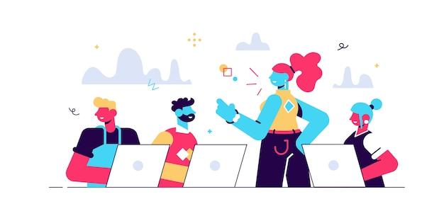 Ilustração em vetor dos desenhos animados do conceito do centro de coworking. reunião de negócios. ambiente de trabalho compartilhado. pessoas conversando nos computadores no escritório de espaço aberto. conceito de equipe em branco isolado.