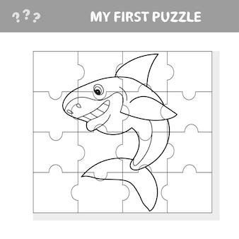 Ilustração em vetor dos desenhos animados do jogo de quebra-cabeça educacional para crianças pré-escolares com animal engraçado tubarão peixe - meu primeiro quebra-cabeça e livro para colorir