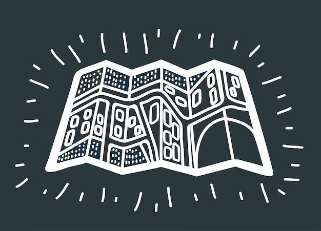 Ilustração em vetor dos desenhos animados do mapa de papel. desenho plano da cidade de contorno preto e branco com ruas em fundo escuro.