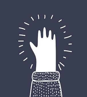 Ilustração em vetor dos desenhos animados do objeto branco do contorno da palma da mão humana em fundo preto preto. cinco dedos.