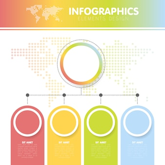 Ilustração em vetor dos infográficos com o mapa do mundo pontilhado com os quatro círculos com passos