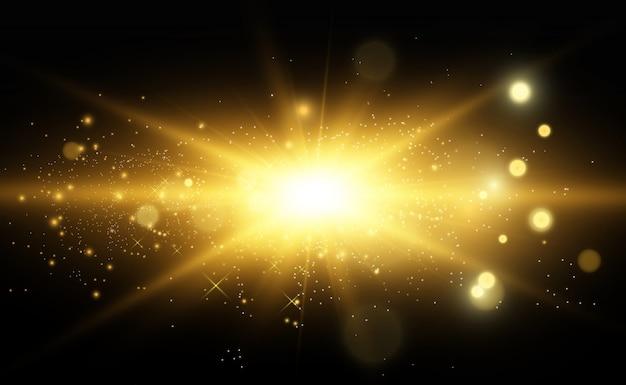 Ilustração em vetor dourado lindo de uma estrela em um fundo translúcido com pó de ouro e brilhos. uma base de luz magnífica para o seu.