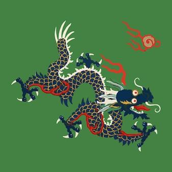 Ilustração em vetor dragão oriental arte chinesa