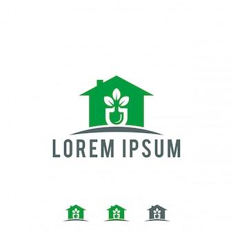 Ilustração em vetor eco casa logotipo modelo