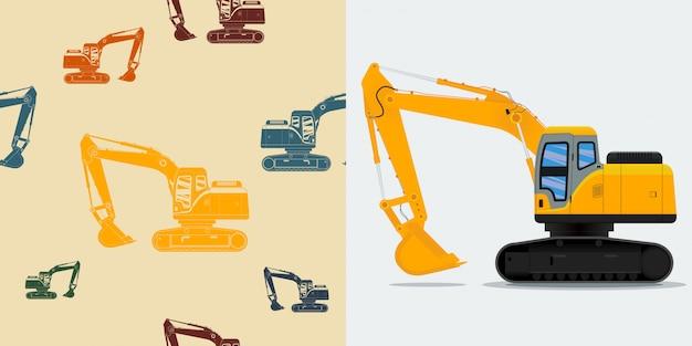 Ilustração em vetor editável escavadeira para indústria da construção
