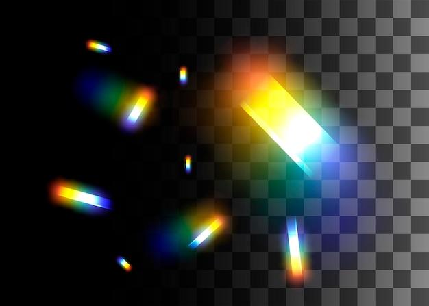 Ilustração em vetor efeito de cores do arco-íris de elemento de design abstrato em fundo transparente.