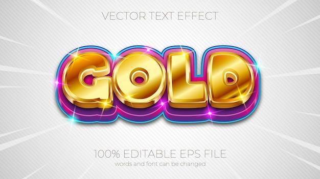 Ilustração em vetor efeito de texto, efeito de texto dourado