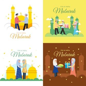 Ilustração em vetor eid al adha mubarak