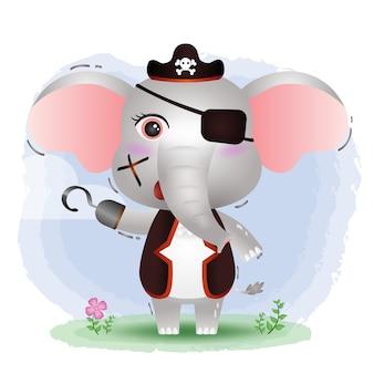 Ilustração em vetor elefante pirata fofo