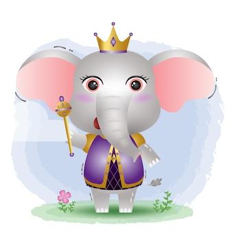 Ilustração em vetor elefante rei fofo