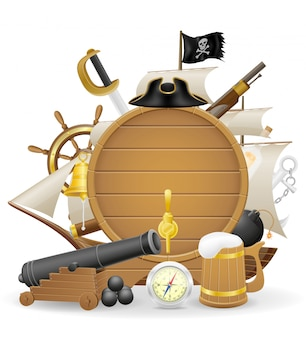 Ilustração em vetor elementos conceito pirata