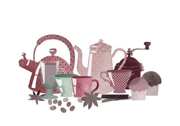 Ilustração em vetor em aquarela de café e elementos