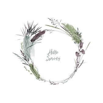 Ilustração em vetor em aquarela de guirlanda floral. ervas e plantas sazonais.