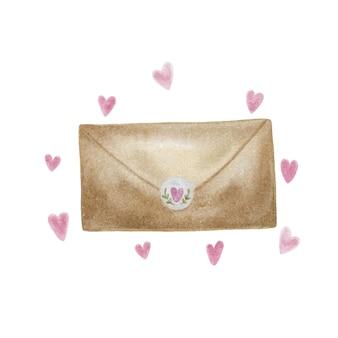 Ilustração em vetor em aquarela de um envelope com corações.
