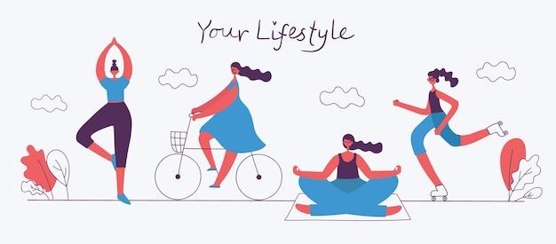 Ilustração em vetor em design plano de grupo de pessoas praticando diferentes tipos de esportes