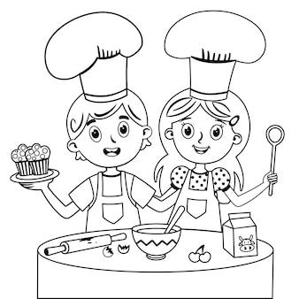 Ilustração em vetor em preto e branco de crianças preparando bolos de muffin