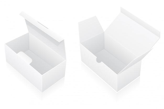 Ilustração em vetor embalagem caixa em branco