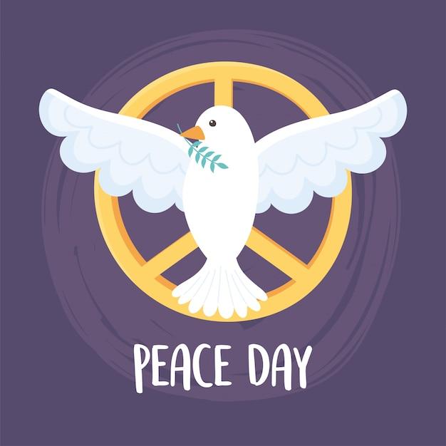 Ilustração em vetor emblema do dia internacional da paz com folha no bico