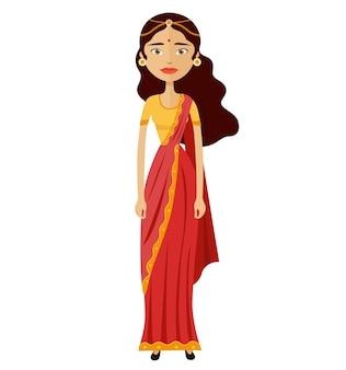 Ilustração em vetor empresária jovem indiano dos desenhos animados