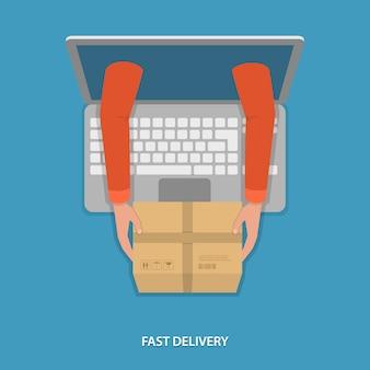 Ilustração em vetor entrega rápida de mercadorias.