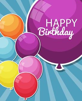 Ilustração em vetor eps10 com balões coloridos de feliz aniversário