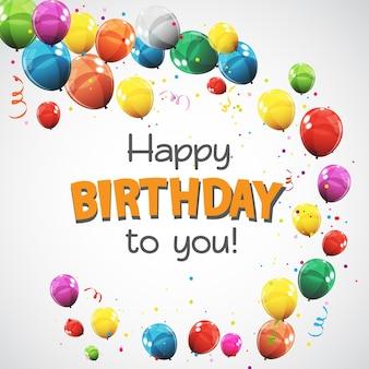 Ilustração em vetor eps10 com balões coloridos e balões de feliz aniversário
