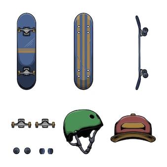 Ilustração em vetor equipamento e proteção de skate Vetor Premium