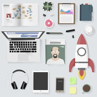 Ilustração em vetor equipamento pessoas gadget estilo de vida