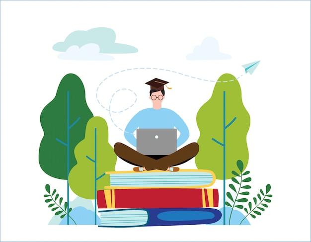 Ilustração em vetor escola de inglês on-line. conceito de cursos de línguas.
