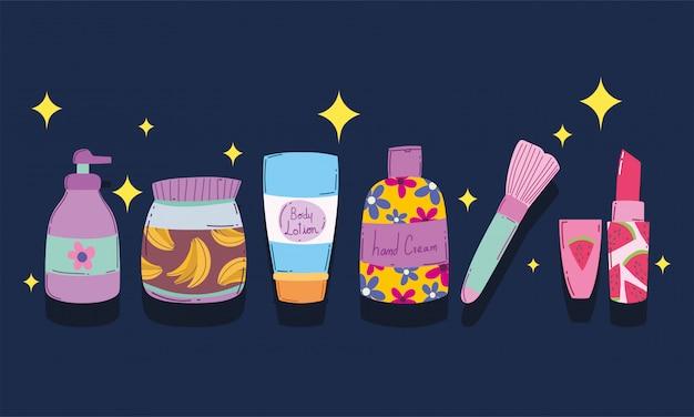 Ilustração em vetor escova maquiagem cosméticos moda beleza produtos para a pele